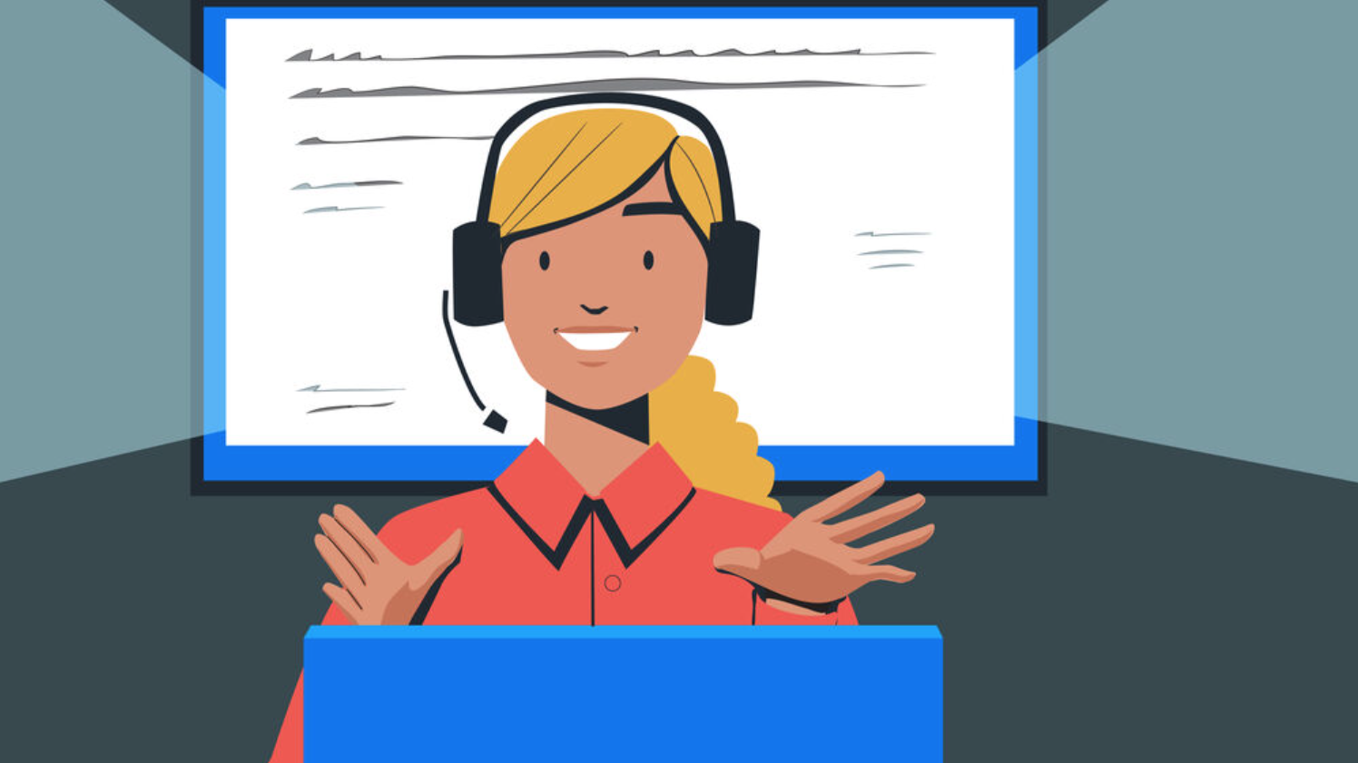 illustration of a blonde smiling woman coaching a course online with a headset