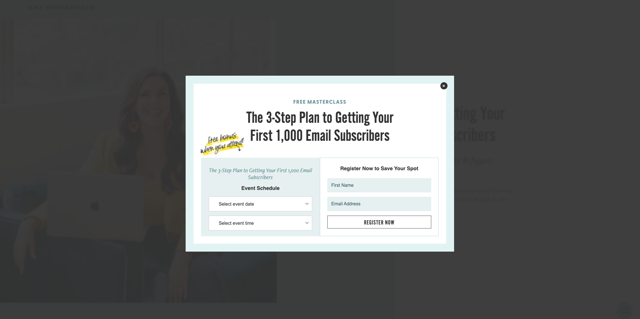 Amy Porterfield's website with a popup for a free masterclass 3-step plan to get your first 1,000 email subscribers,