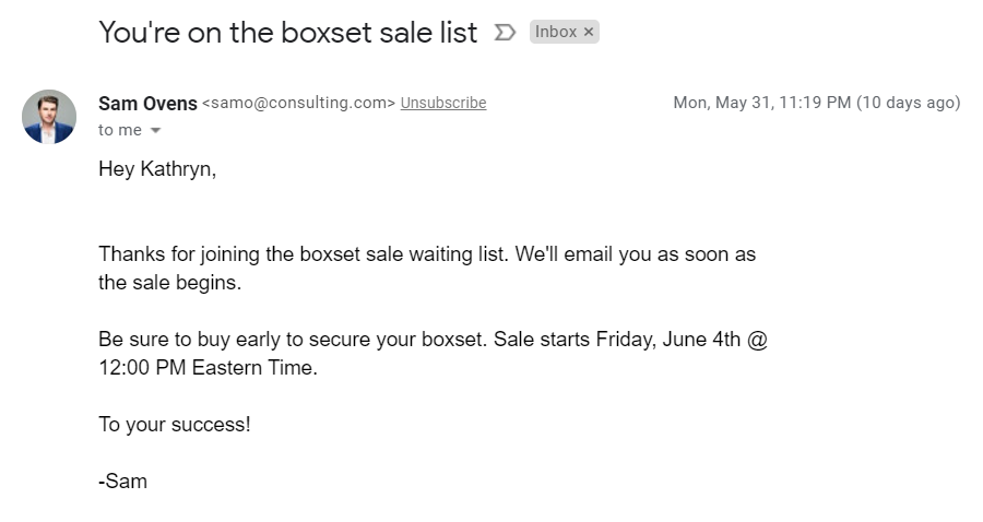 Screenshot of a text based email confirming joining a waitlist