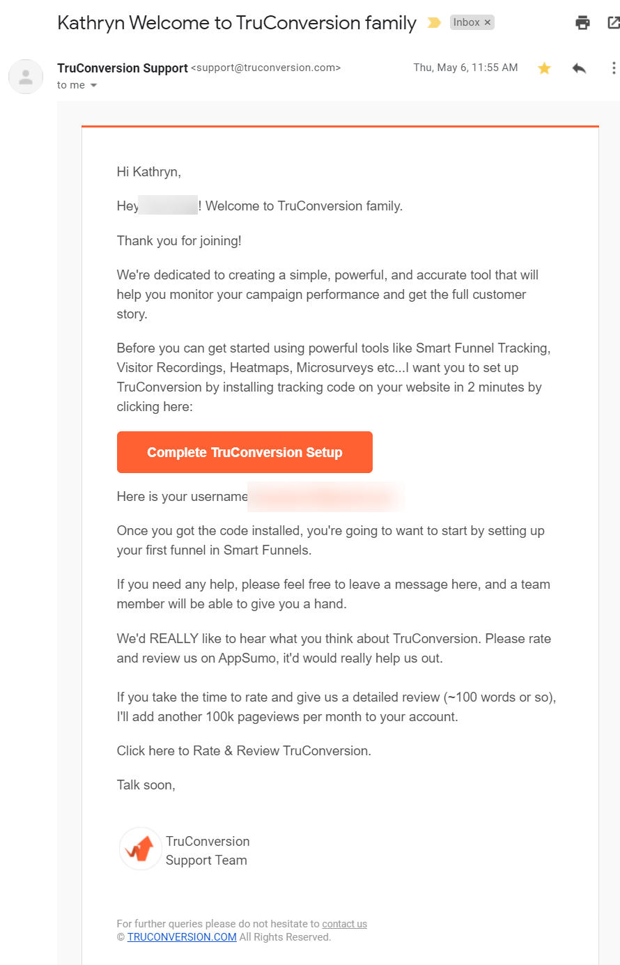 Screenshot of the TruConversion welcome email