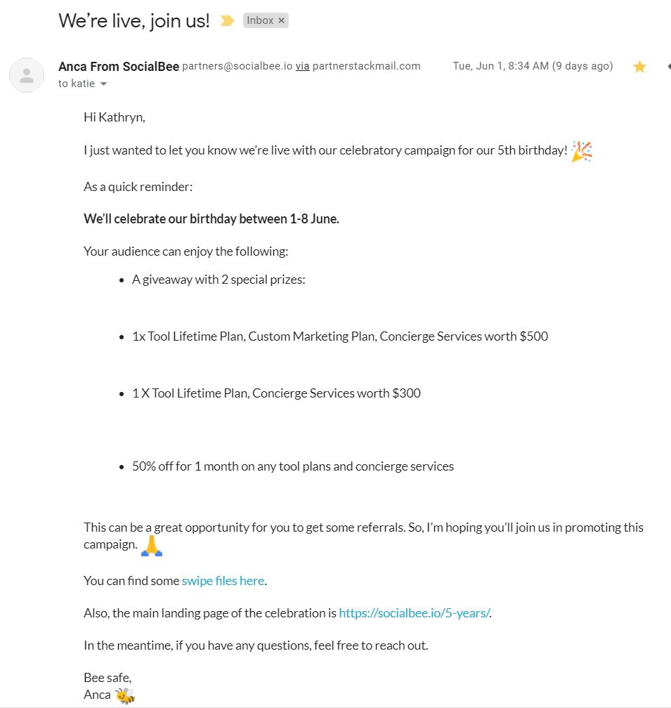 Screenshot of an email from SocialBee about their anniversary campaign