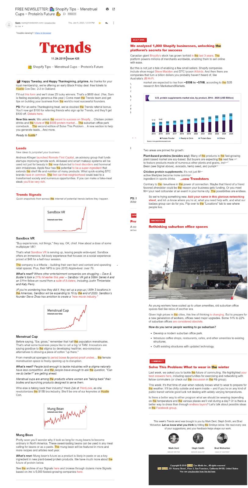 Screenshot of the Trends premium newsletter