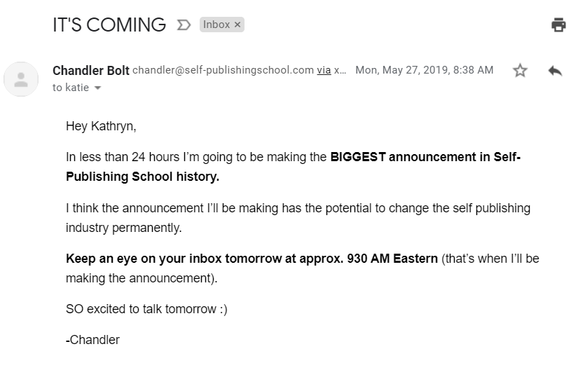 Screenshot of a Self-Publishing School email about an upcoming announcement
