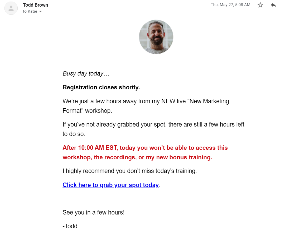 Simple reminder email about a marketing workshop