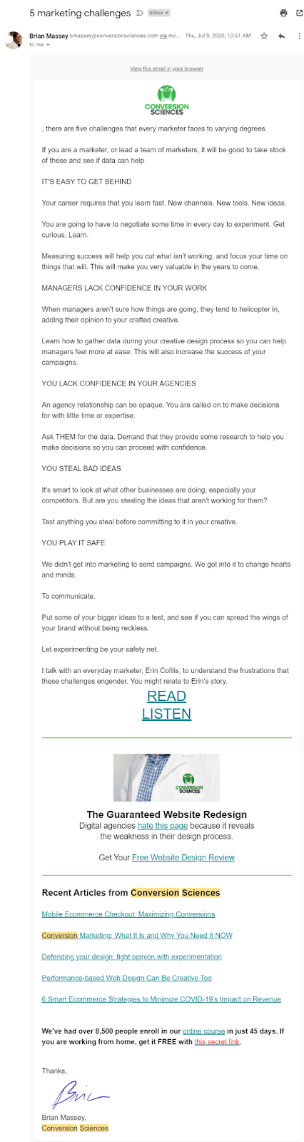 Screenshot of a content update email from Conversion Sciences