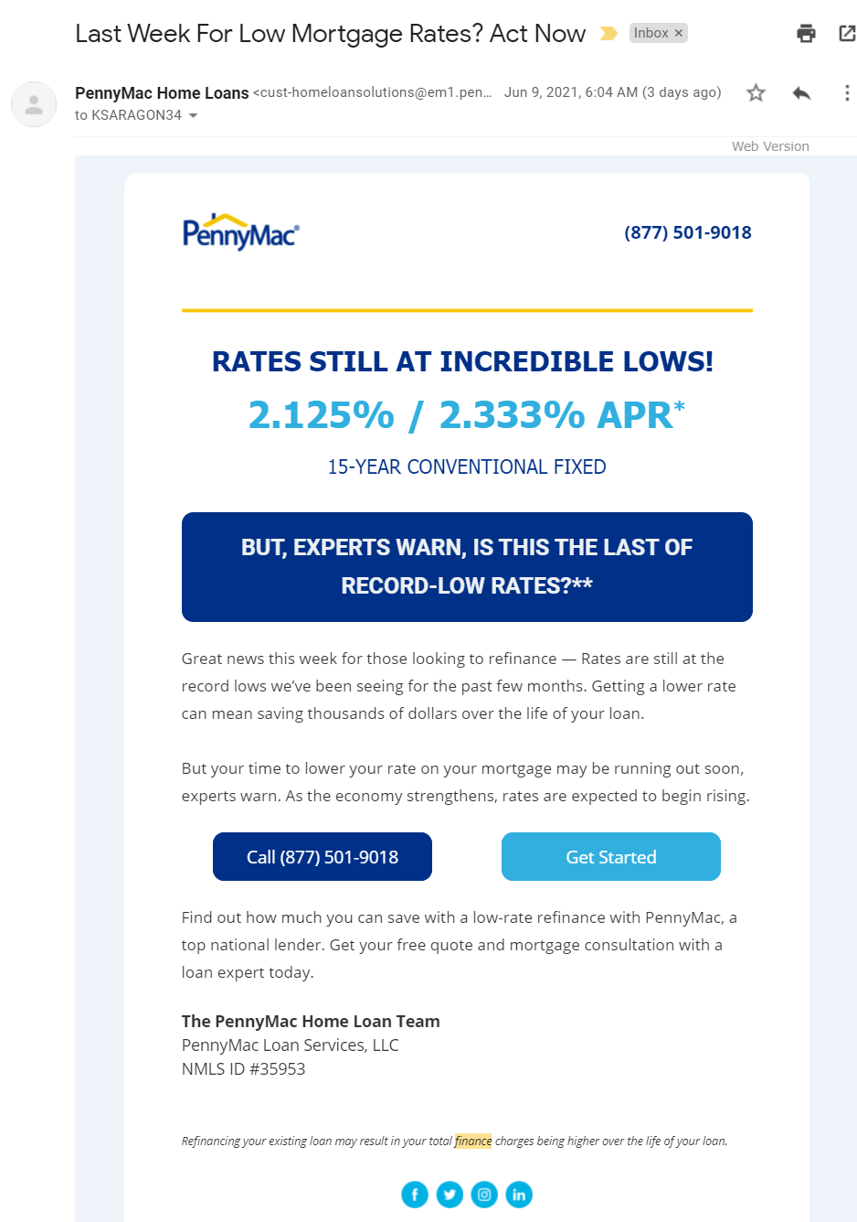 HTML Email from PennyMac Home Loans with blue coloring