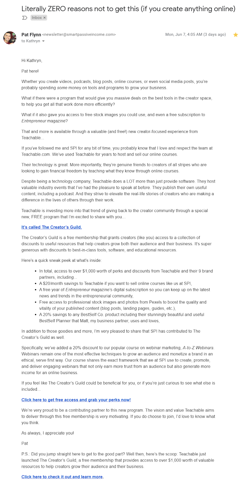 Long, text based promotional email from Pat Flynn