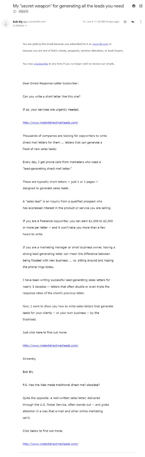Screenshot Bob Bly's text based newsletter