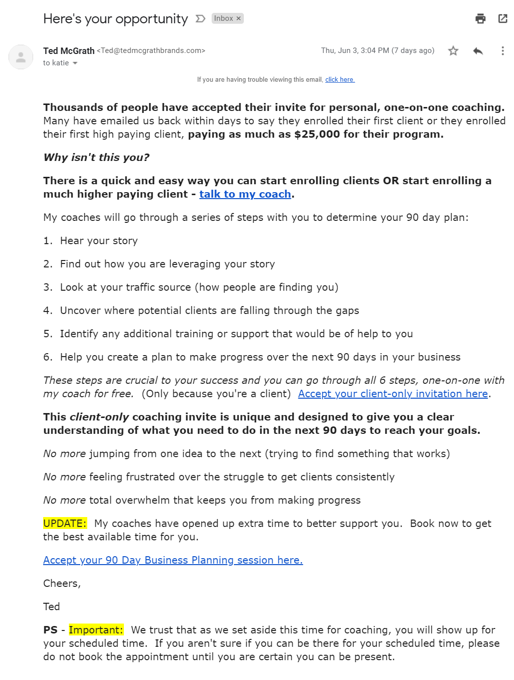 Promotional text based email from Ted McGrath