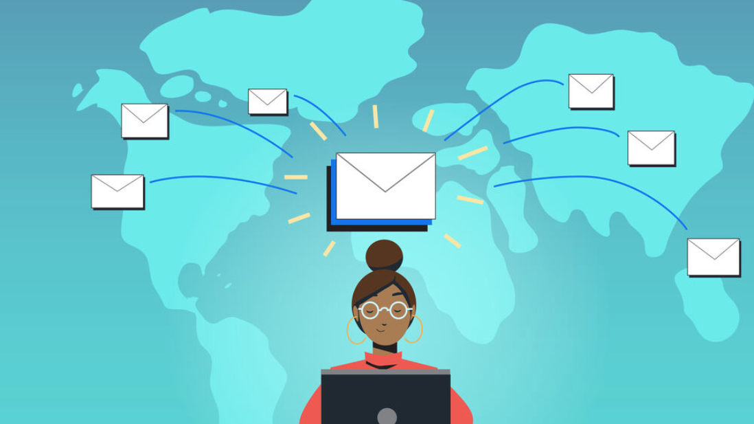 Illustration of a woman sending an email campaign all over the world