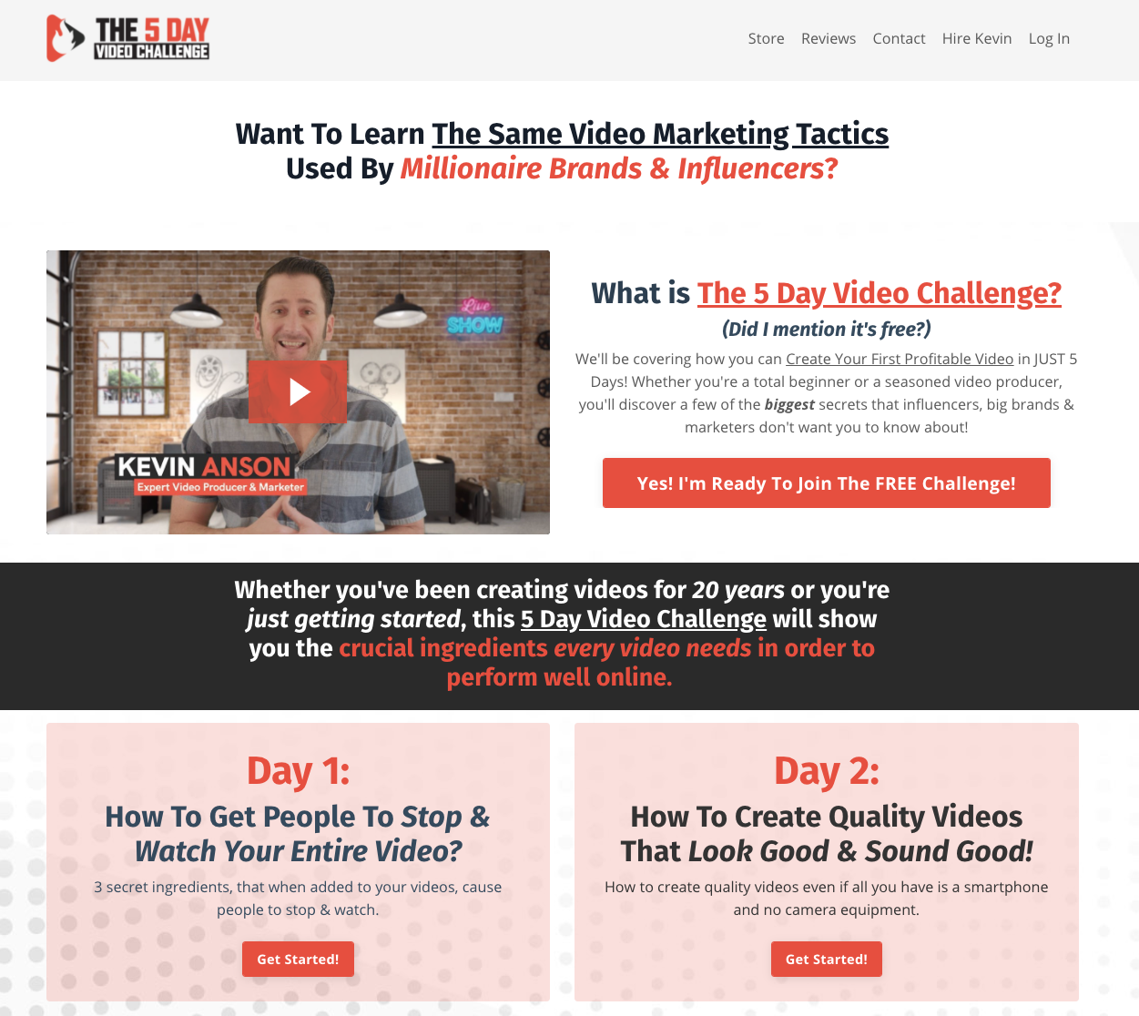 landing page from Kajabi Hero Kevin Anson linking to the 5 day video challenge