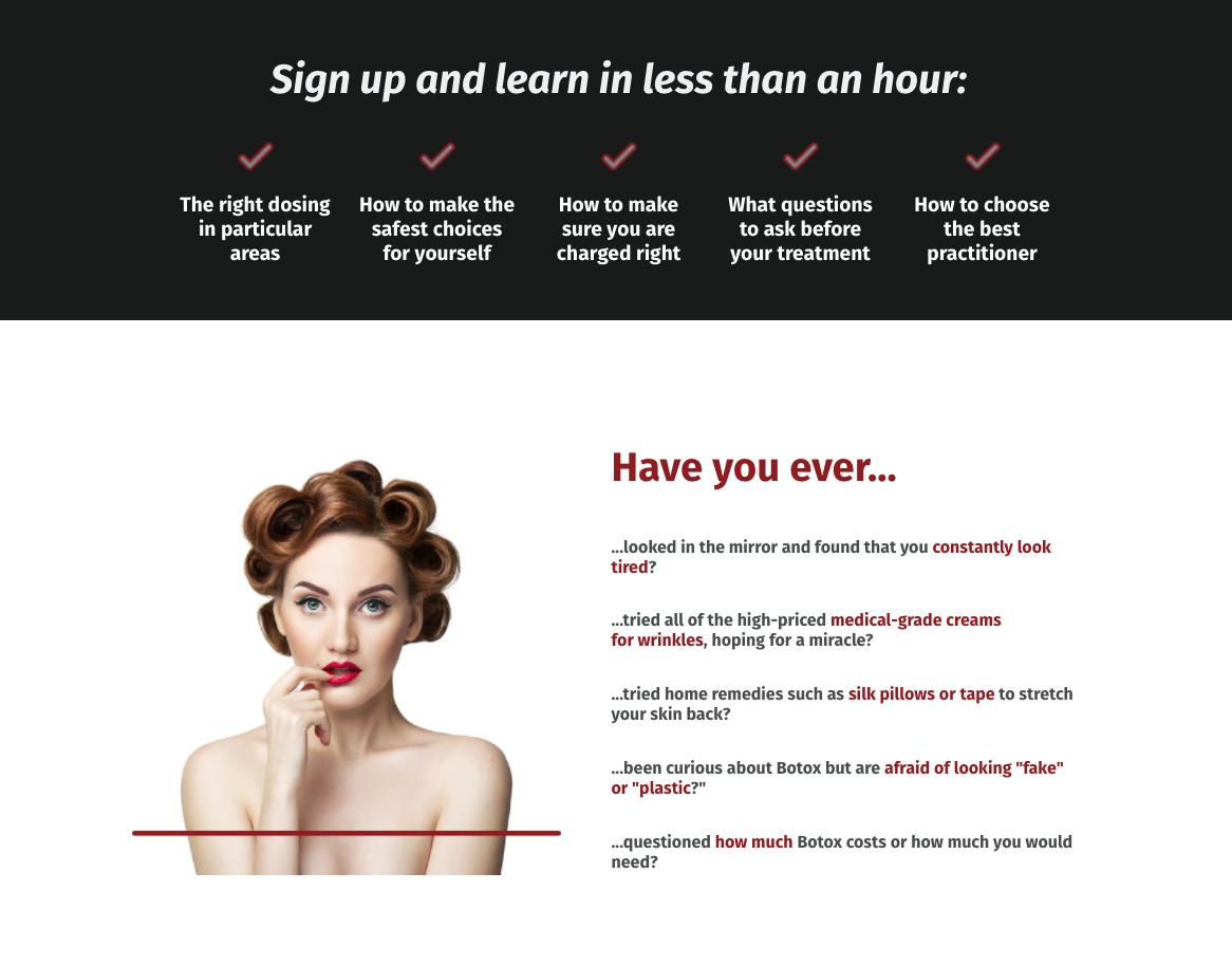 Webinar landing page with copy about learning about botox