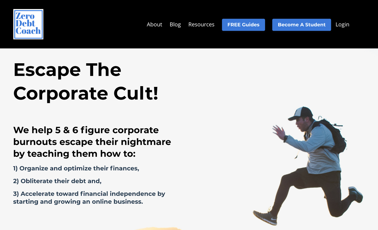 Screenshot of the Zero Debt Coach website discussing escaping the corporate cult with an image of a man jumping