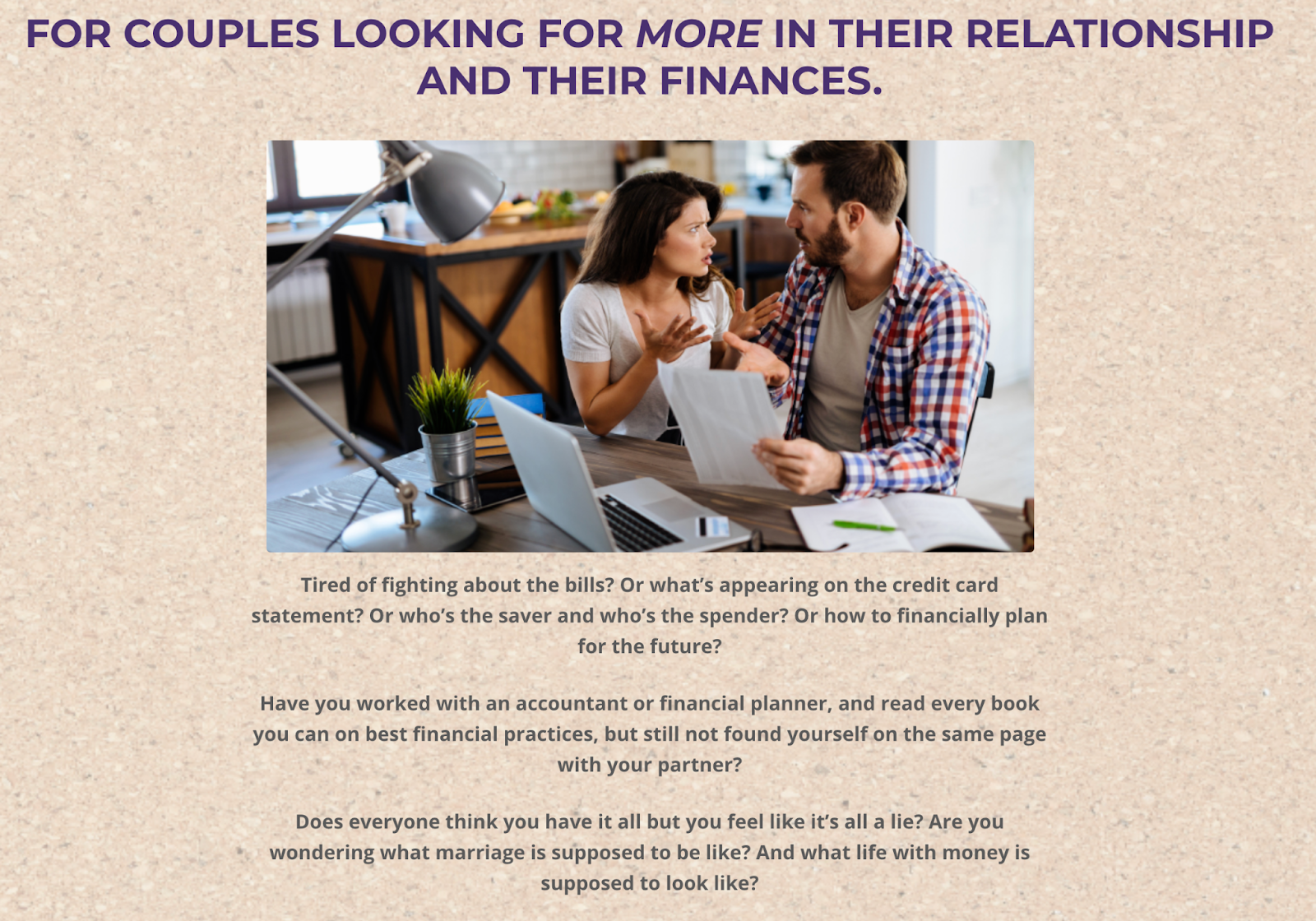 Screenshot of the Healthy Love and Money website with an image of a couple discussing bills on a brown background
