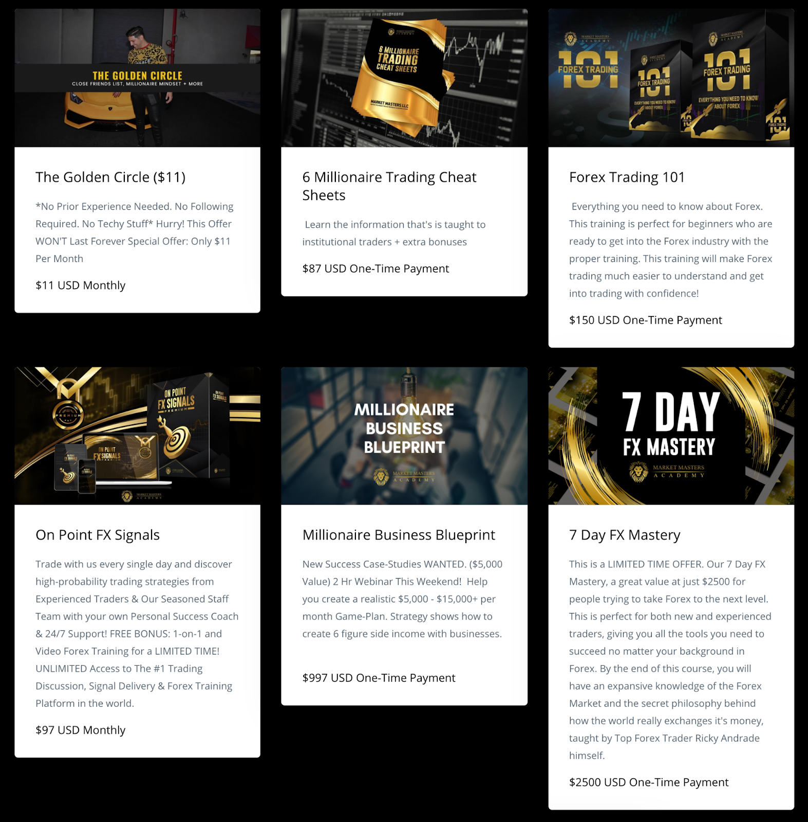 Screenshot of the Market Masters Academy website with six courses on finance, trading, and six figure side income