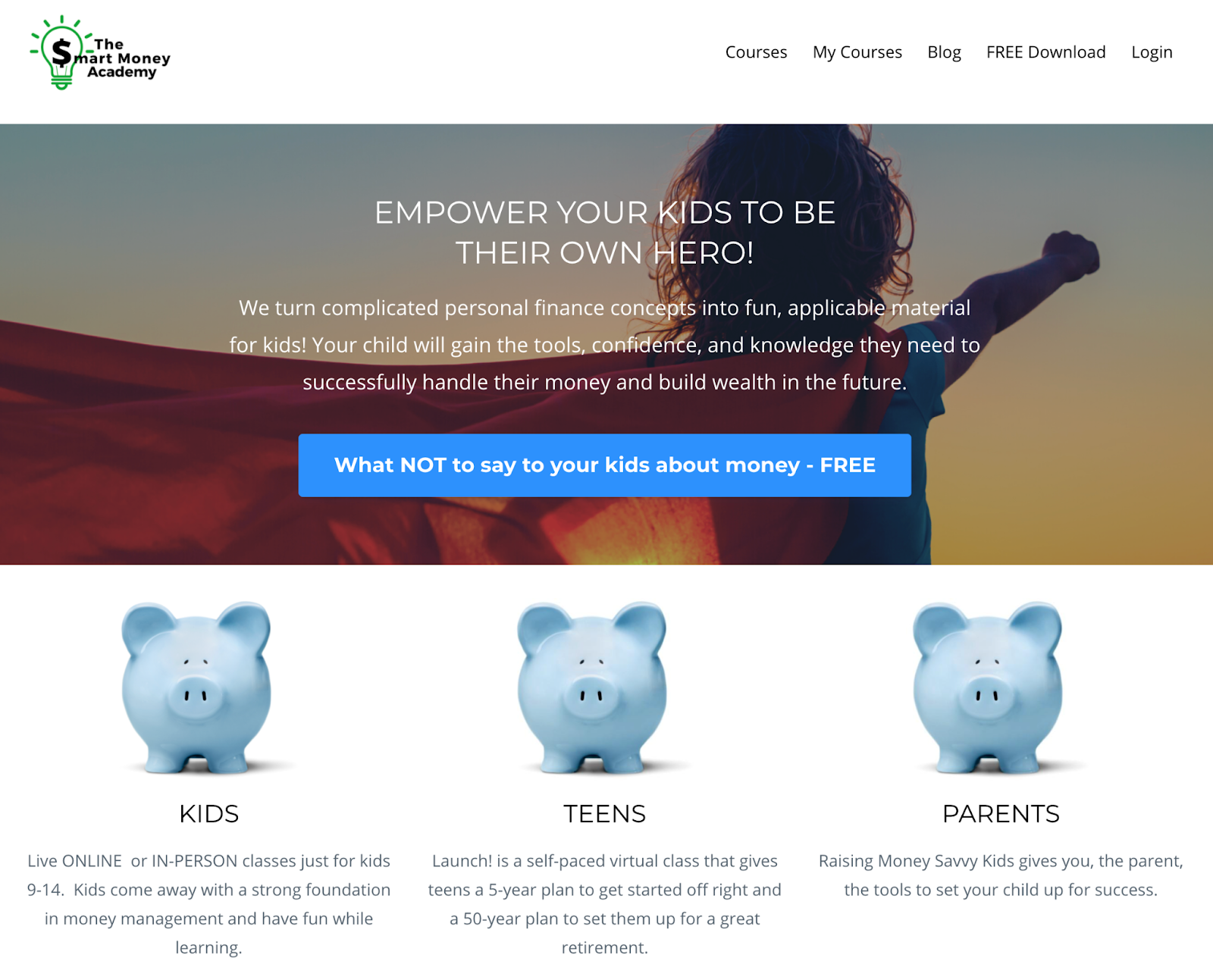 Screenshot of the Smart Money Academy website with a photo of a child and personal finance course offerings for kids, teens, and adults