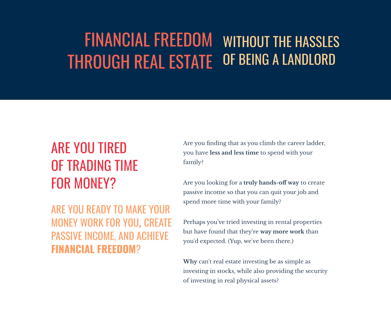 screenshot of the Passive Real Estate Investing Course sales page with copy about finding financial freedom through real estate