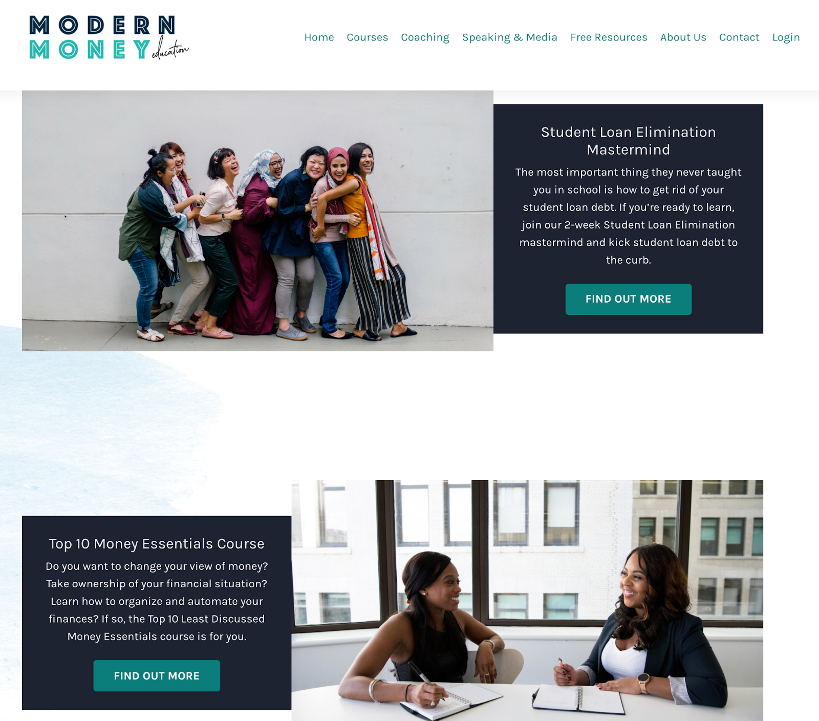 Screenshot of the Modern Money Education website with two course offerings: Student Loan Elimination Mastermind and Top 10 Money Essentials Course, both with photos of smiling women