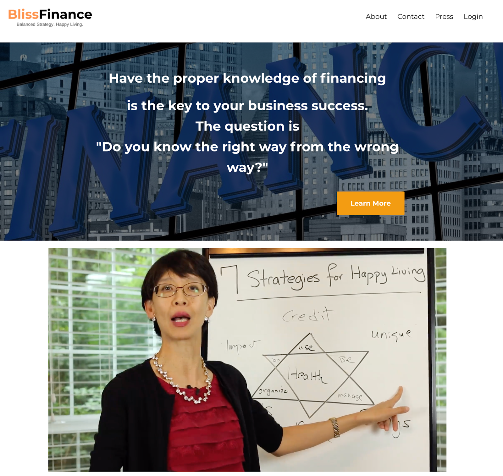 Screenshot of the Bliss Finance website with a statement about business financing and an image of a woman showcasing a diagram of 7 strategies for happy living