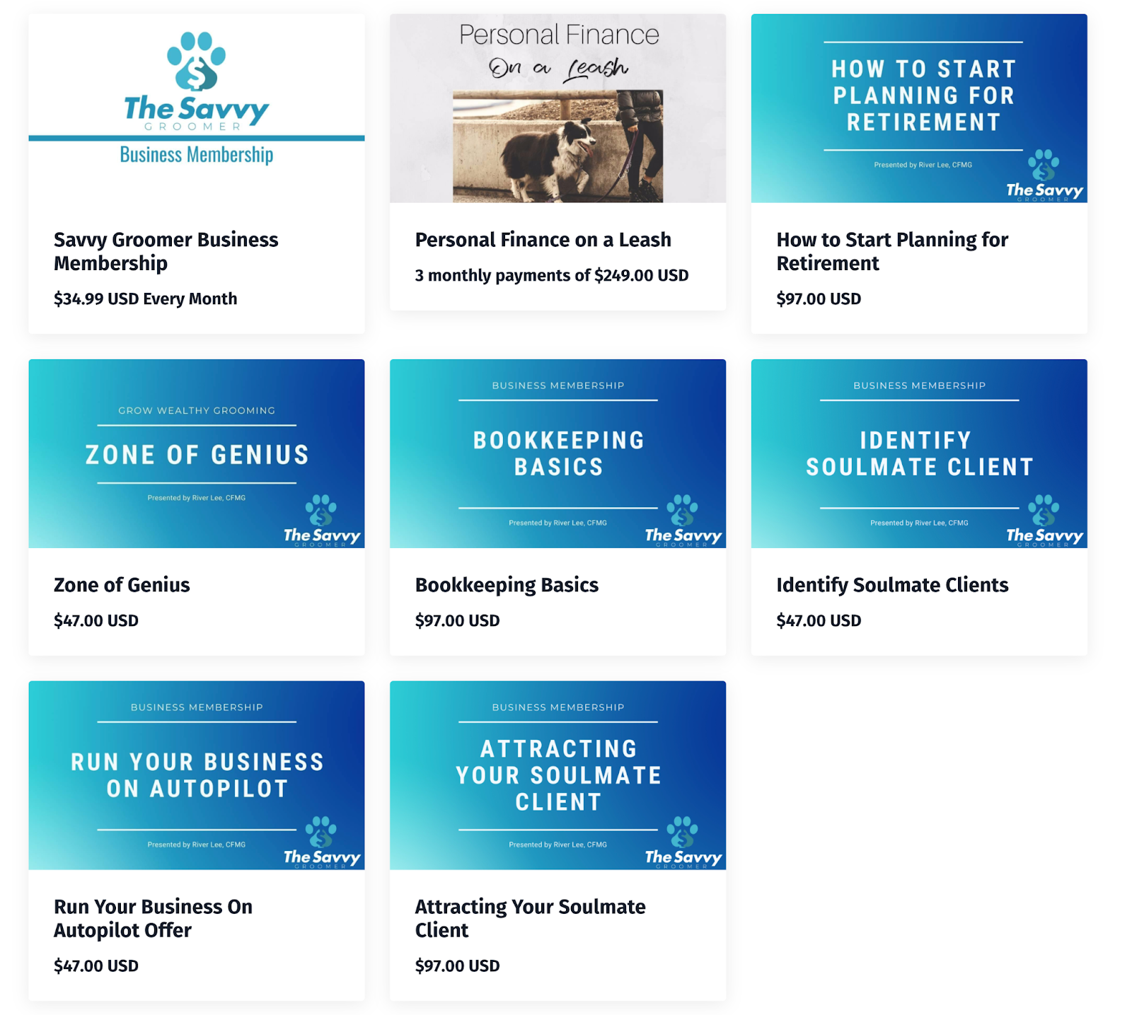 Screenshot of the Savvy Groomer website with eight courses available, including a business membership, run your business on autopilot, bookkeeping basics, and Personal Finance on a Leash