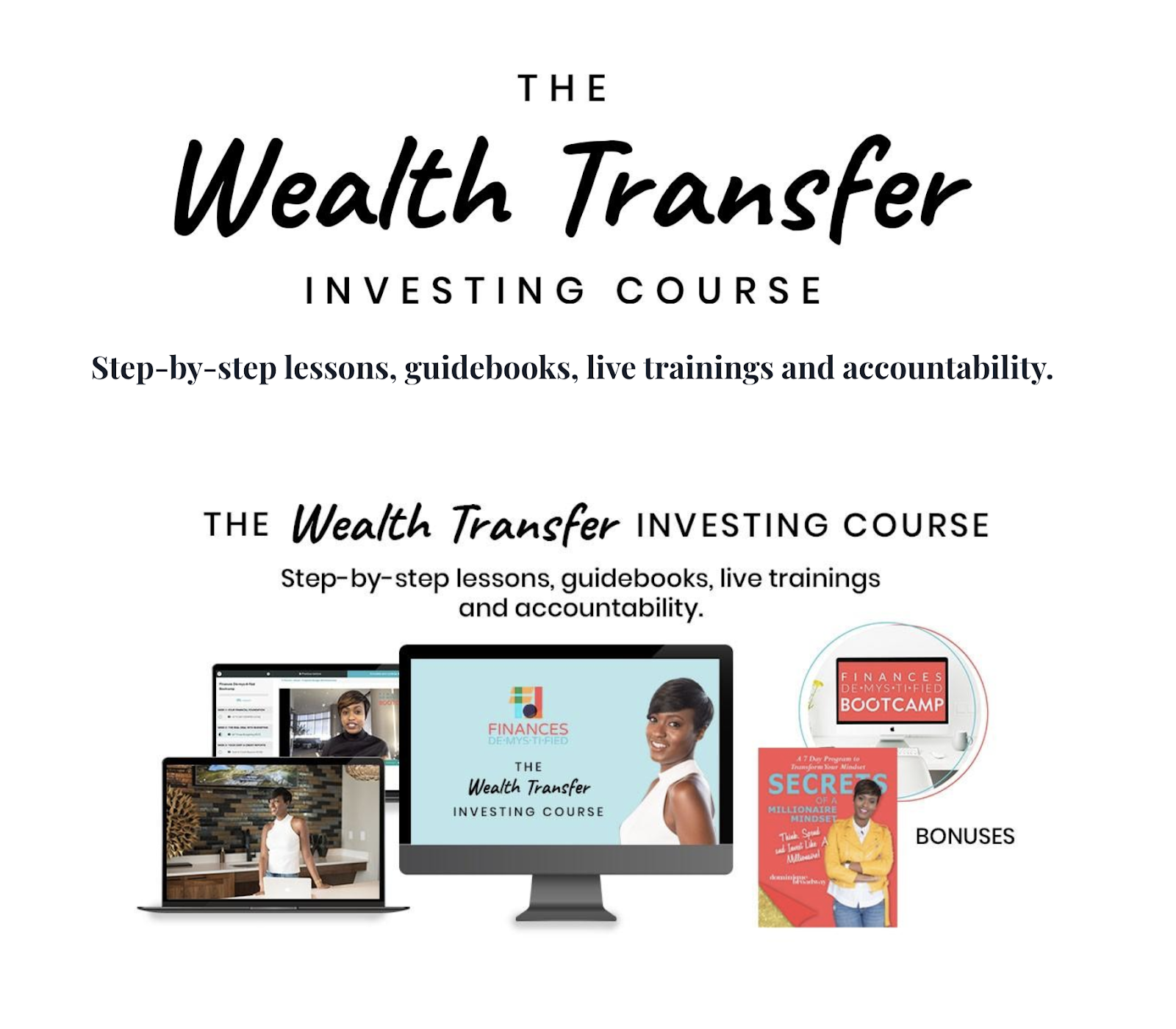screenshot from the Finances Demystified website showcasing the Wealth Transfer Investing cours