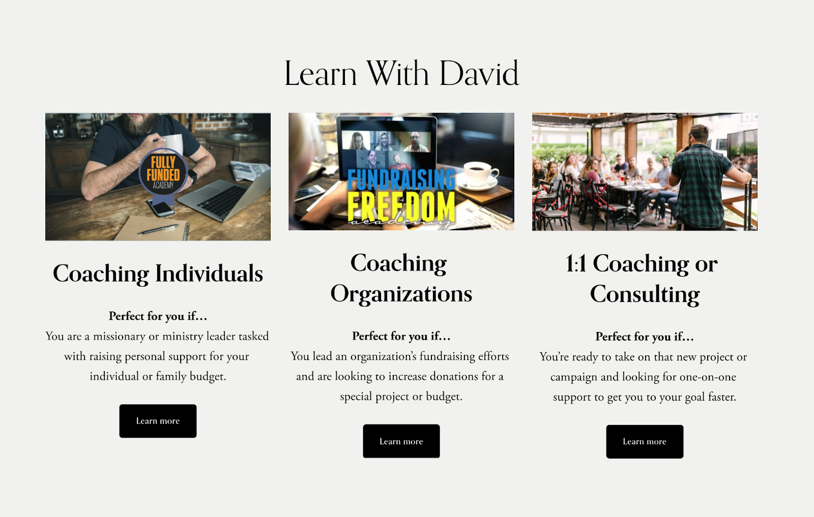 Screenshot of the WorldStage Development website with options for coaching individuals, coaching organizations, or 1:1 coaching or consulting.