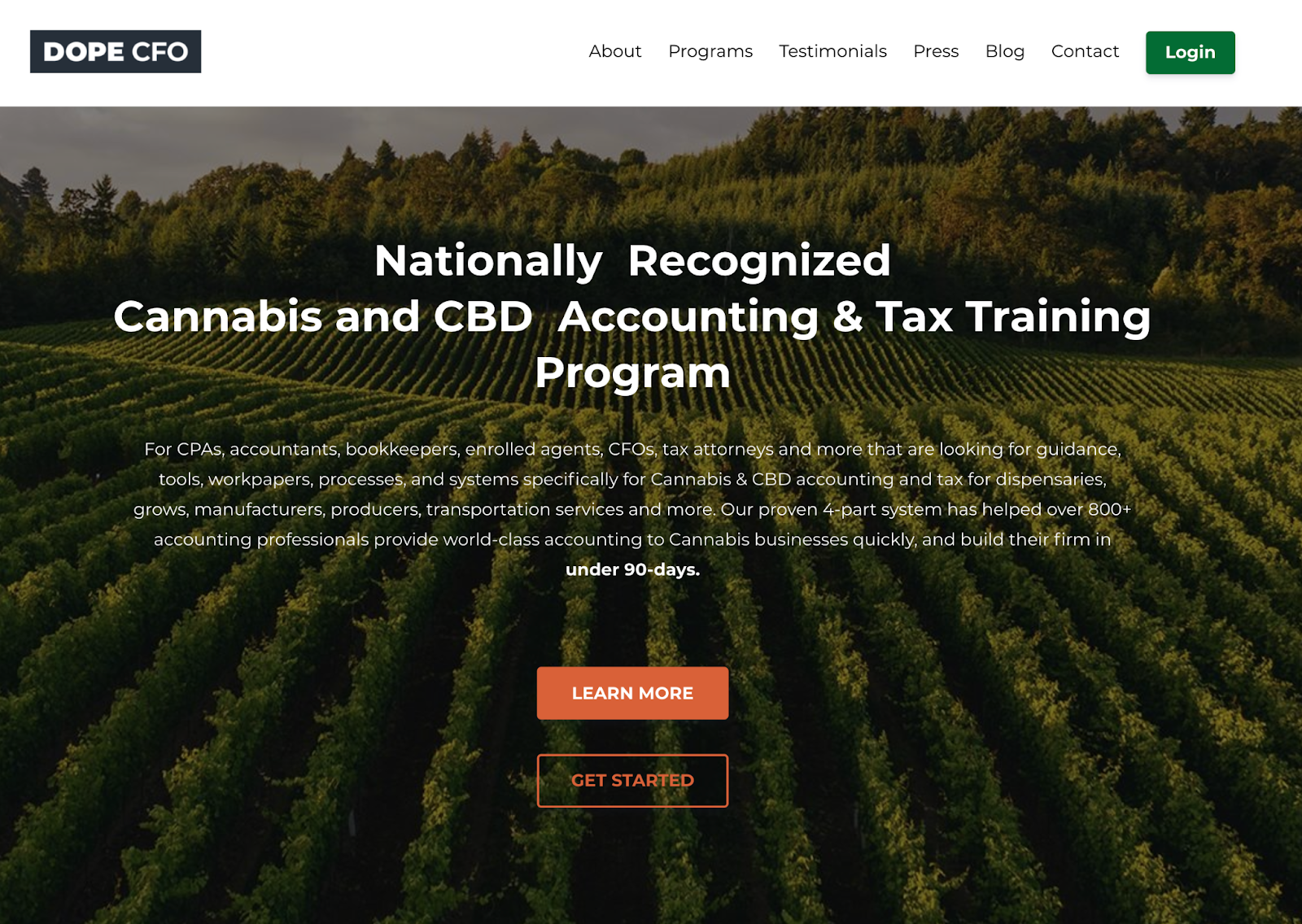 Screenshot of the Dope CFO website showcasing their nationally recognized cannabis and CBS accounting and tax training program