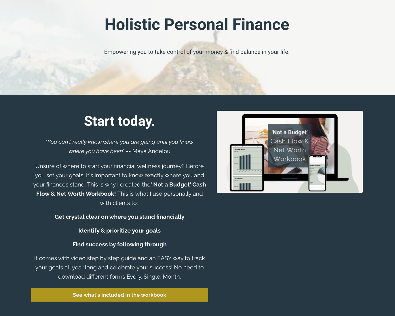 screenshot of the Holistic Personal Finance website with copy about starting today with the 'Not a Budget' Cash Flow and Net Worth Workbook