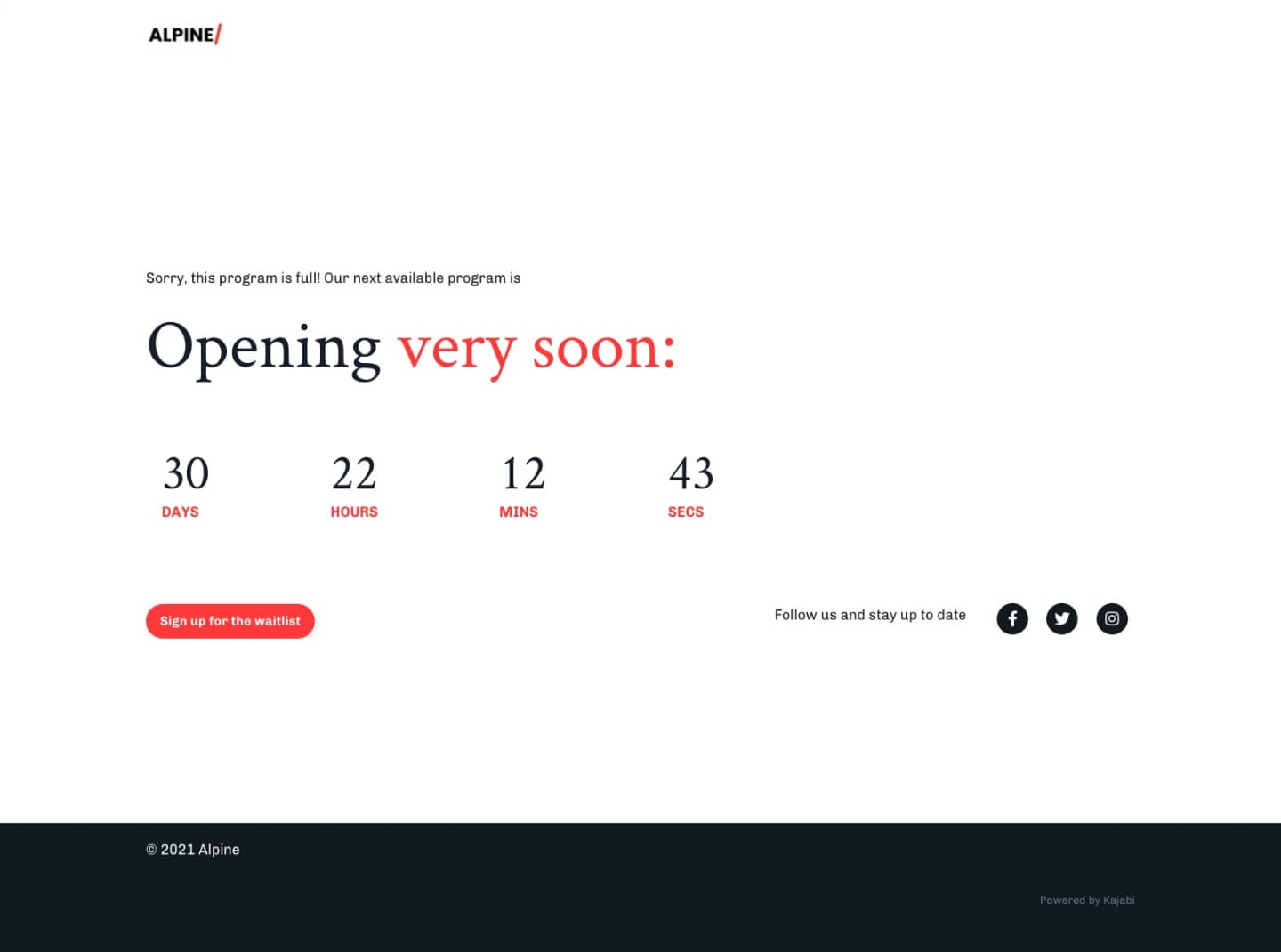 Screenshot of a landing page with a Coming Soon offer and countdown