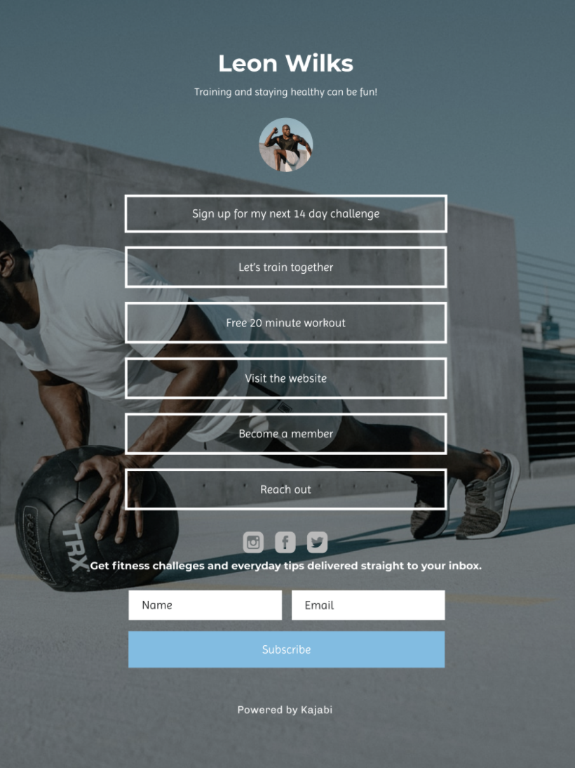 Screeshot of a landing page from a personal trainer with six button links directing to different content