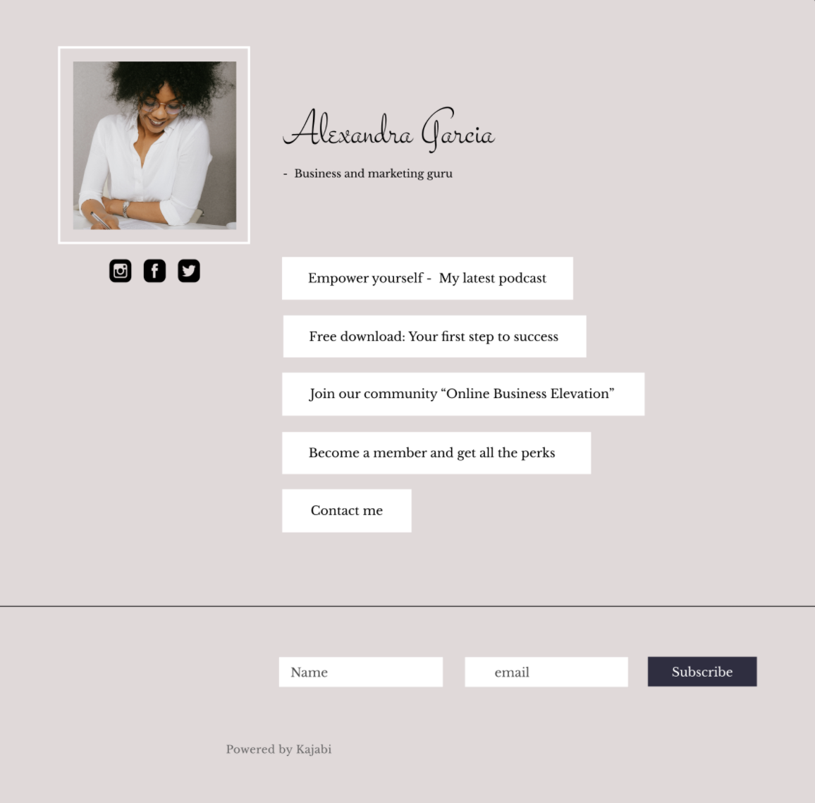 Screenshot of a landing page with a beige background and white buttons with black text