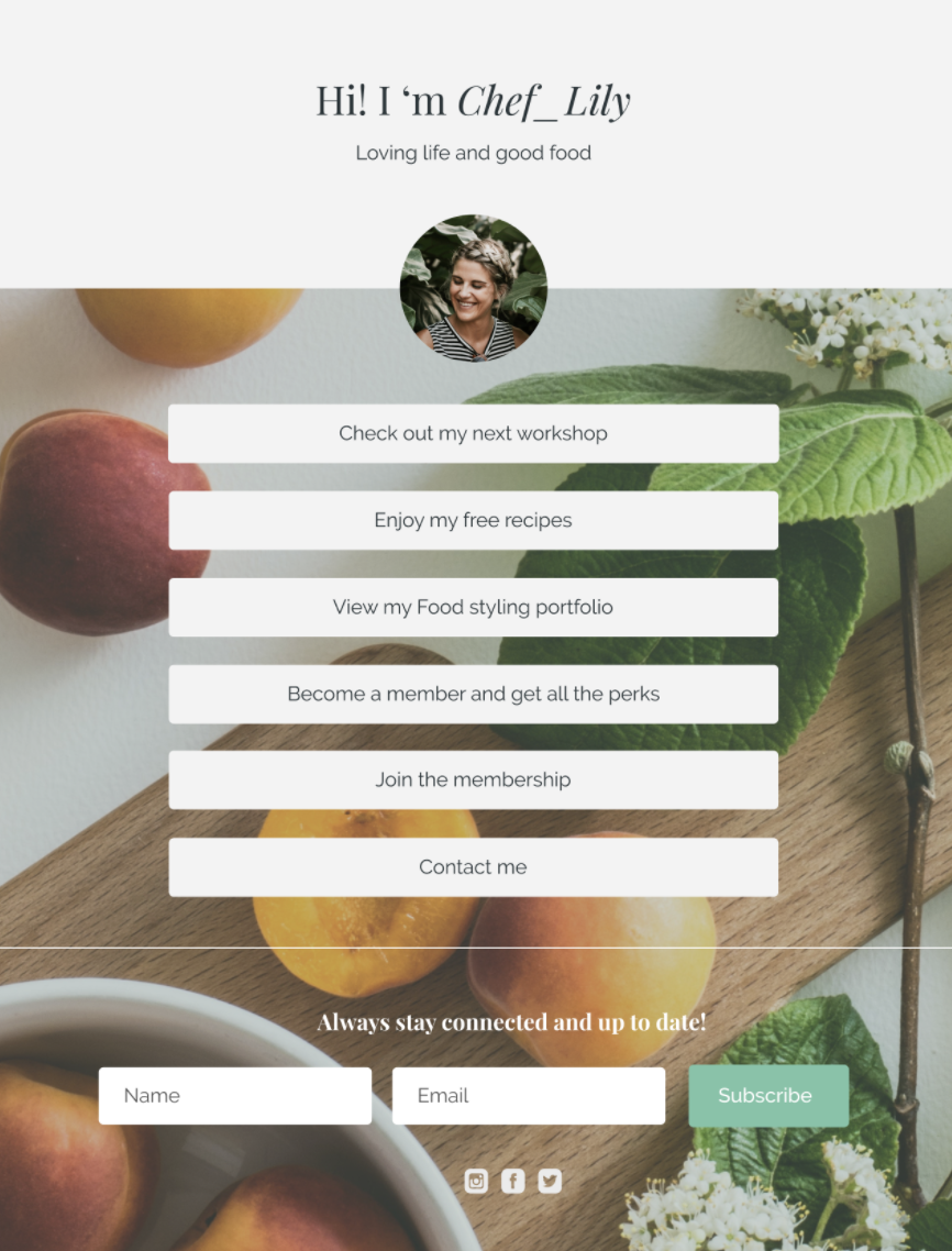 Landing page with an image of peaches on a cutting board and six white buttons