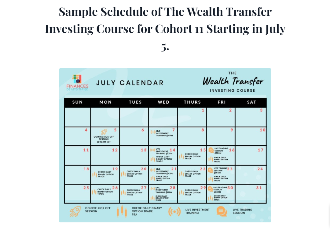 Screenshot of a sample schedule for the Wealth Transfer Investing Course