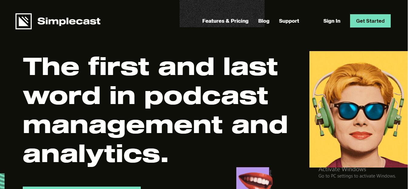 Screenshot of the Simplecast website