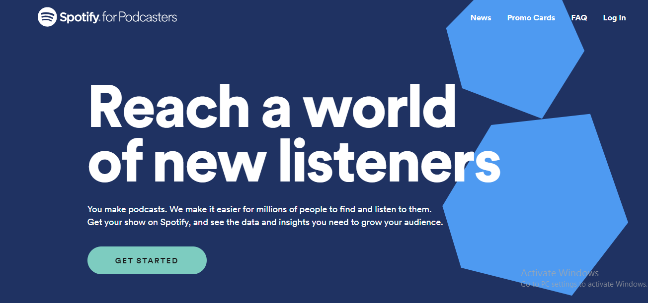 """Screenshot of Spotify for Podcasters saying """"Reach a world of new listeners"""""""