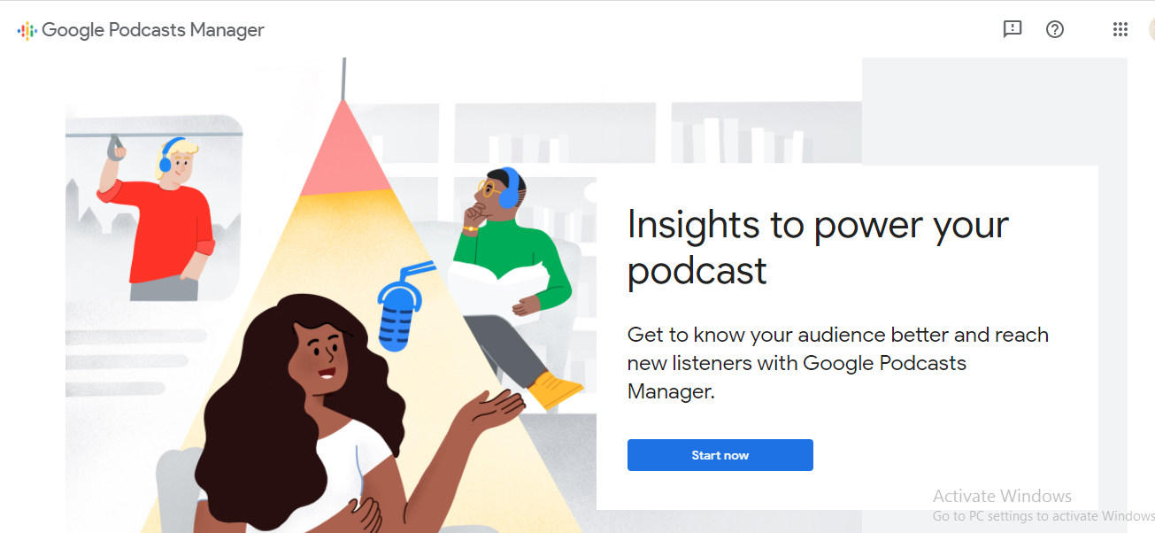 """Screenshot of Google Podcasts Manager with an illustration of a woman talking into a mic and copy """"insights to power your podcast"""""""