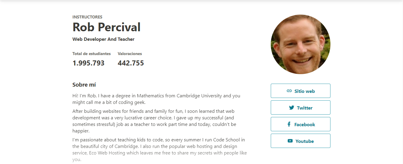 Screenshot of the profile of Rob Percival with a biography