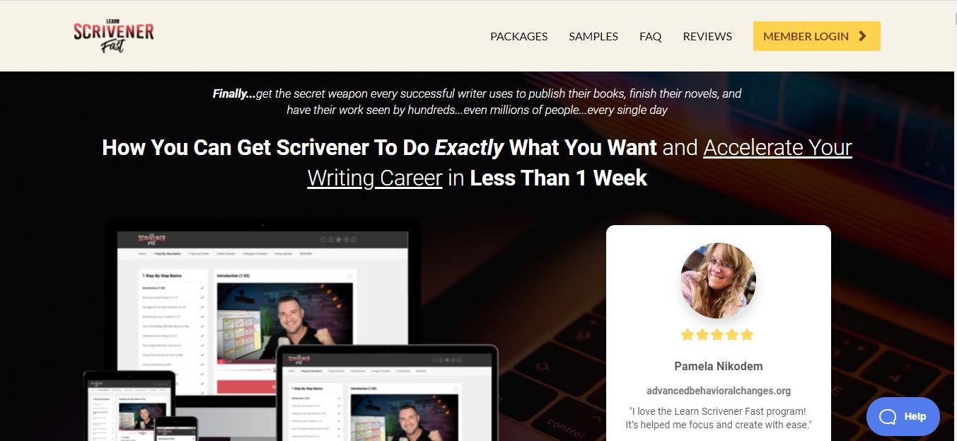 Screenshot of the Learn Scrivener Fast homepage
