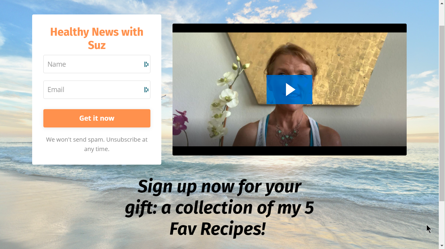 Screenshot of Suzanne Jeffreys' website with a photo of the ocean and a paused video of her