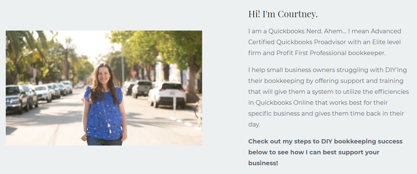 Screenshot of a website with grey background and photo of Courtney Boudet and copy introducing herslf