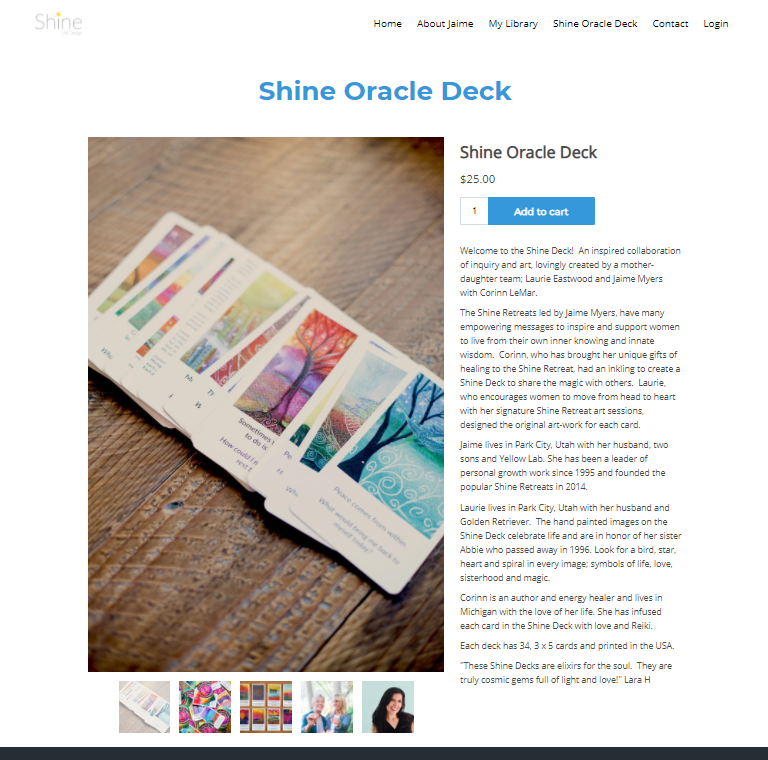 Screenshot of a product listing for the Shine Oracle Deck