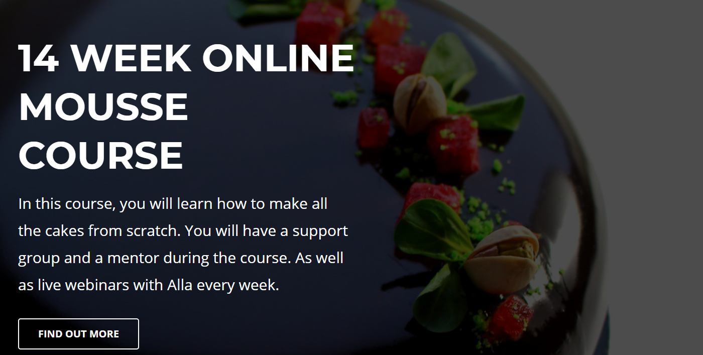 Screenshot  of a graphic saying 14 week online mousse course