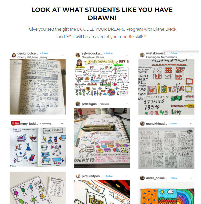 Screenshot of the Doodle Institute website with examples of student artwork