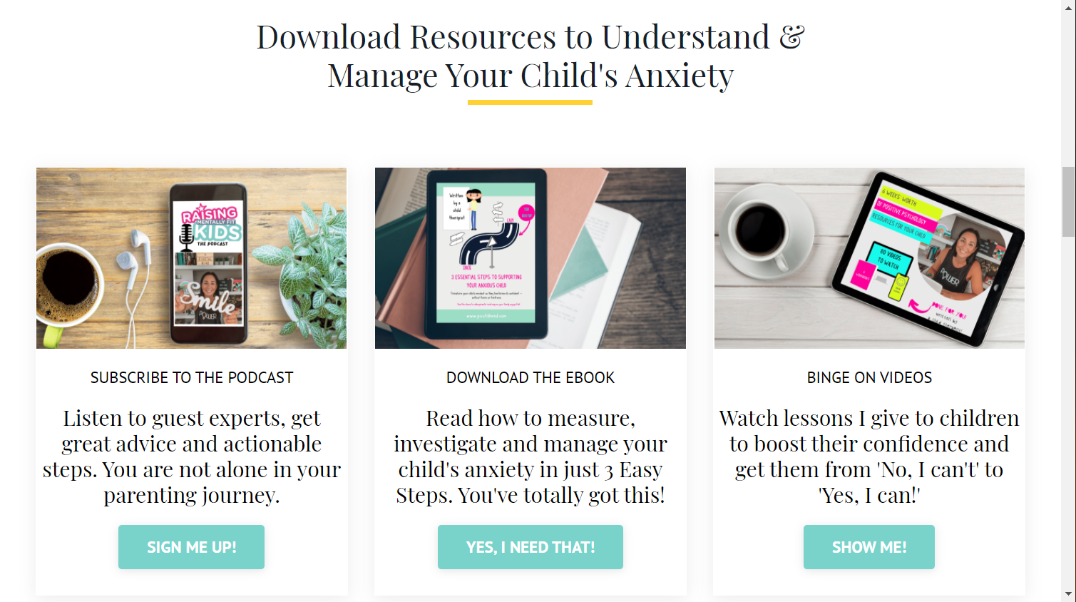 Screenshot of the Raising Mentally Fit Kids website