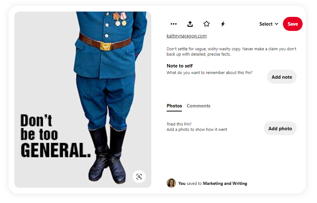 """Screenshot of a Pinterest image saying """"Don't be too general"""""""
