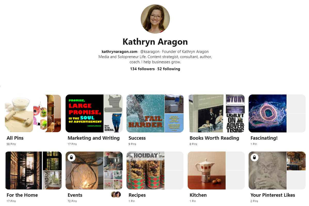 Screenshot of a Pinterest board with categories for events, books, success, marketing, kitchen, and more