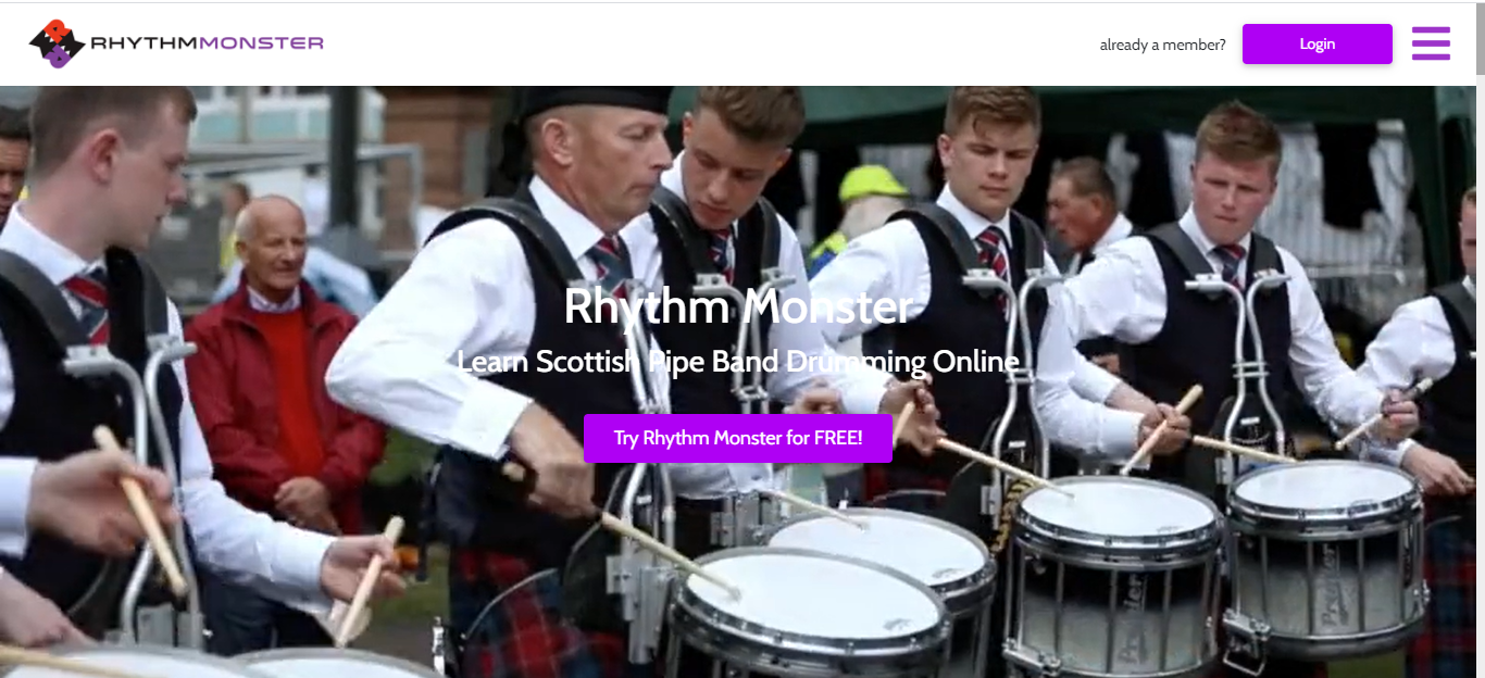 Screenshot of The Rhythm Monster website showing a photo of a Scottish pipe band drumming