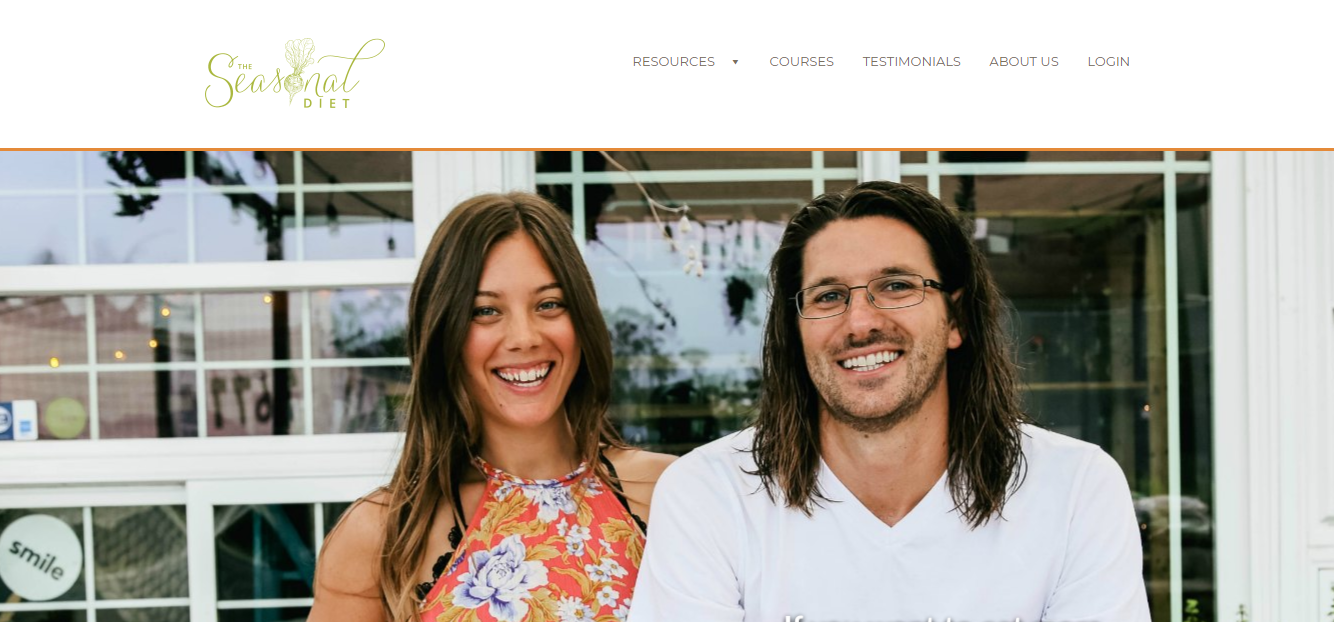 Screenshot of The Seasonal Diet website with photos of a smilingcouple