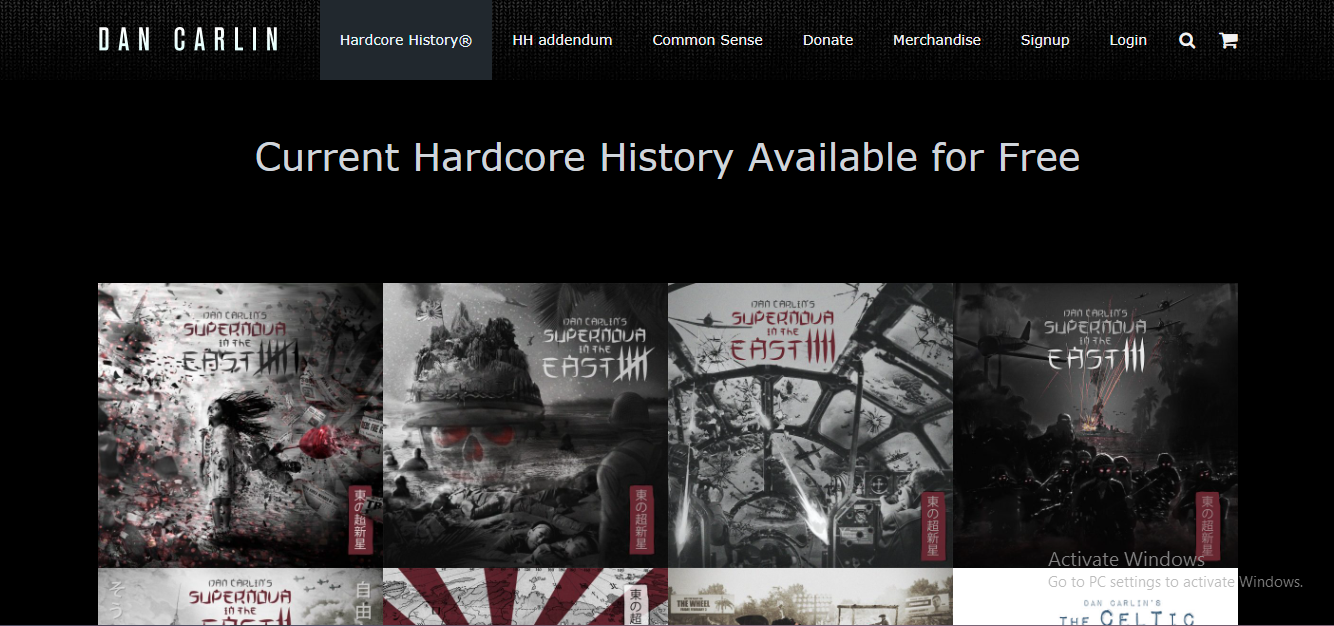 Screenshot of Dan Carlin's Hardcore History website
