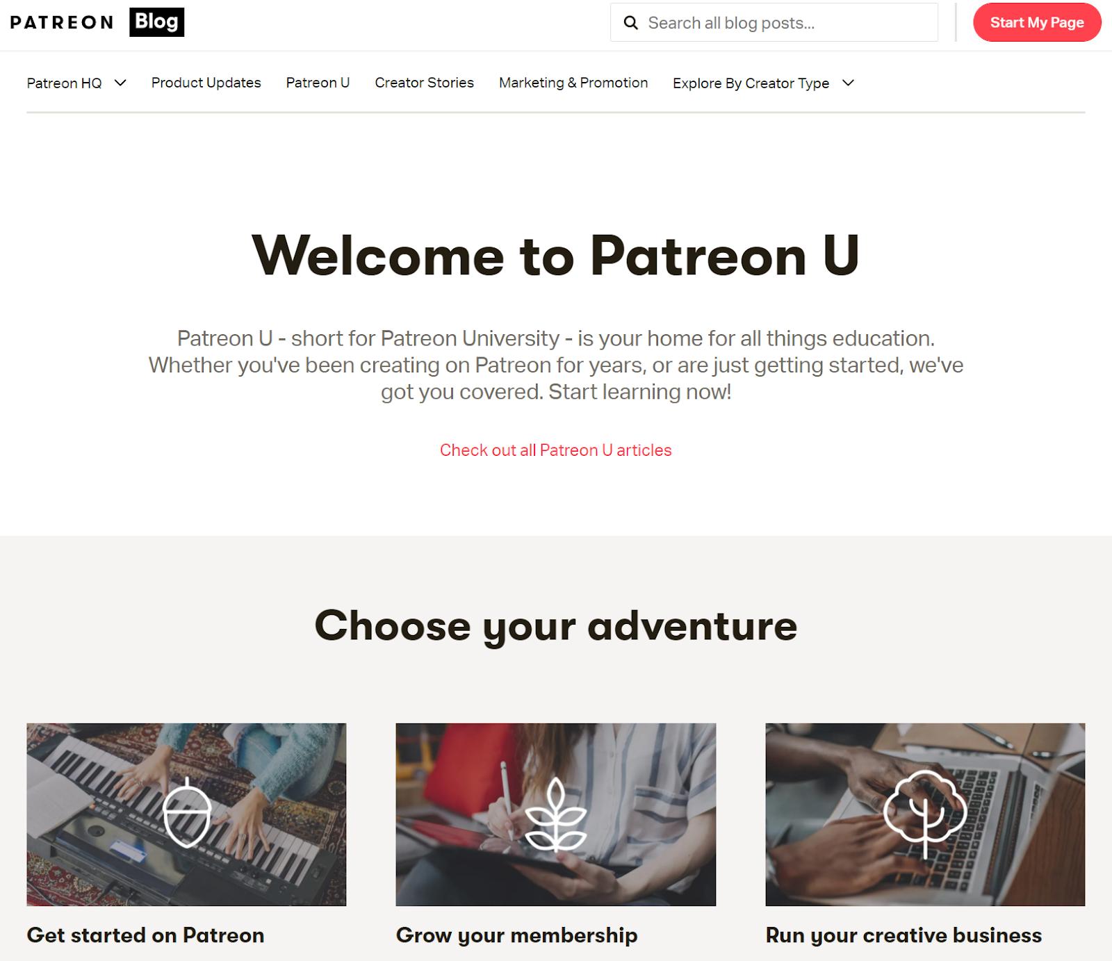 Screenshot of Patreon U with content topics